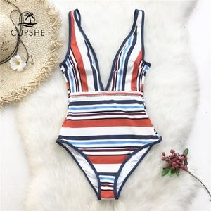 Cupshe Swimsuit NWT One Piece Bold Stripe Plung M